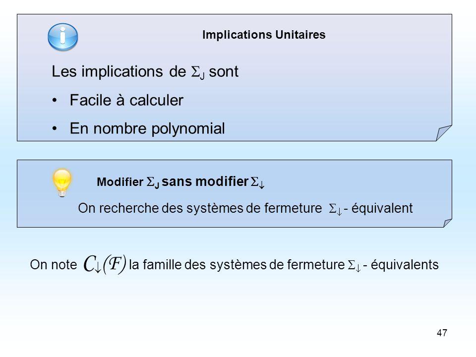 47 Implications Unitaires Les implications de J sont Facile à calculer En nombre polynomial Modifier J sans modifier On recherche des systèmes de fermeture - équivalent On note C (F) la famille des systèmes de fermeture - équivalents