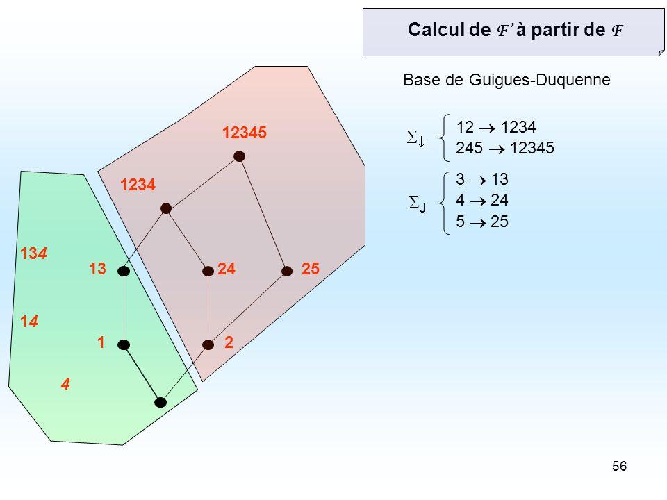 56 12 132425 1234 12345 12 1234 245 12345 3 13 4 24 5 25 Base de Guigues-Duquenne 4 1414 134 Calcul de F à partir de F J