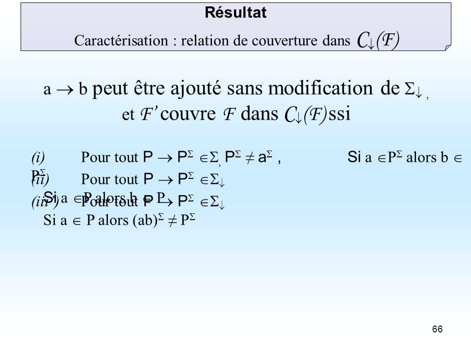 66 Caractérisation : relation de couverture dans C (F) (i) Pour tout P P, P a,Si a P alors b P (ii) Pour tout P P Si a P alors b P (iii) Pour tout P P Si a P alors (ab) P Résultat a b peut être ajouté sans modification de, et F couvre F dans C (F) ssi