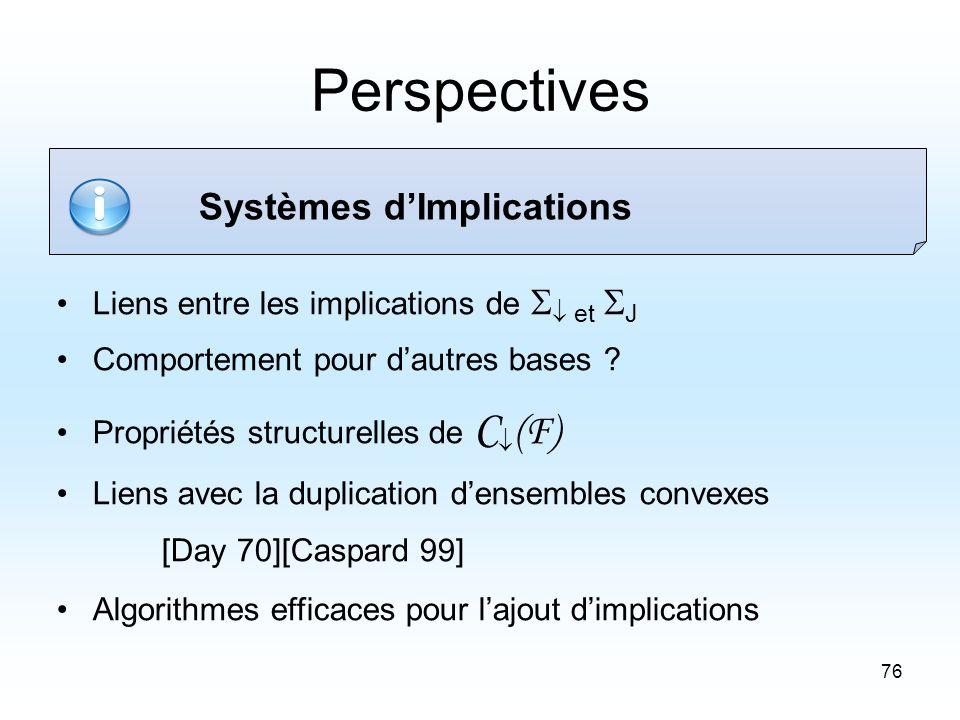 76 Perspectives Liens entre les implications de et J Comportement pour dautres bases .