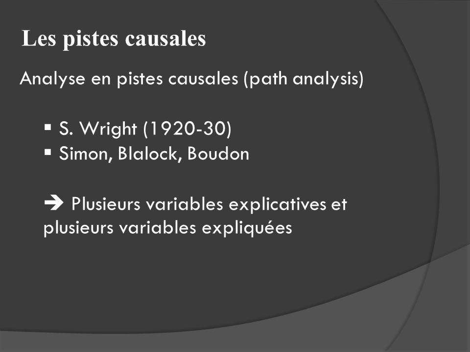 Les pistes causales Analyse en pistes causales (path analysis) S. Wright (1920-30) Simon, Blalock, Boudon Plusieurs variables explicatives et plusieur
