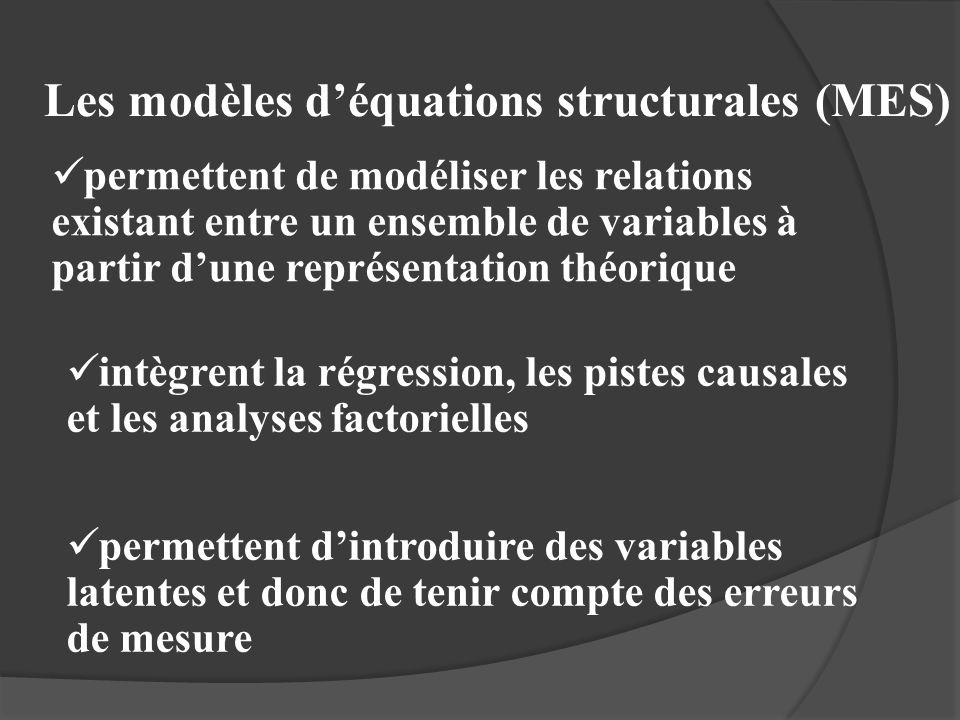 Les modèles déquations structurales (MES) permettent de modéliser les relations existant entre un ensemble de variables à partir dune représentation t