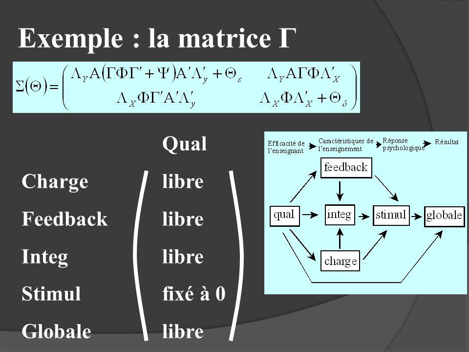 Exemple : la matrice Γ Qual Chargelibre Feedbacklibre Integlibre Stimulfixé à 0 Globalelibre
