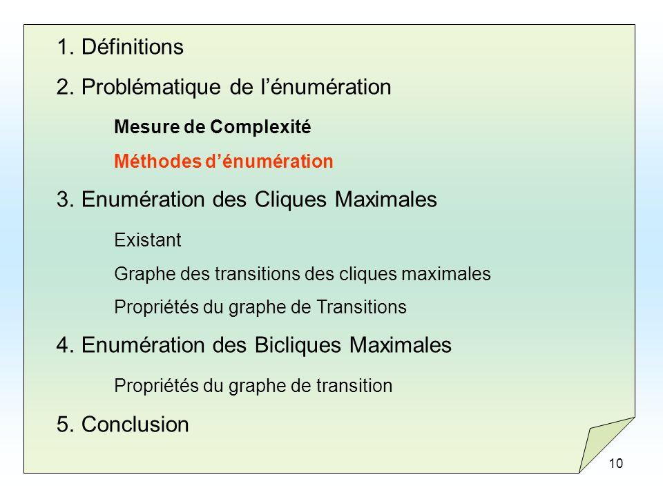 10 1.Définitions 2.Problématique de lénumération Mesure de Complexité Méthodes dénumération 3.Enumération des Cliques Maximales Existant Graphe des tr