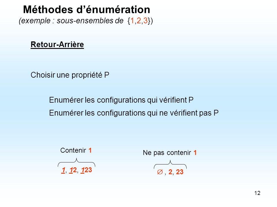 12 Retour-Arrière Choisir une propriété P Enumérer les configurations qui vérifient P Enumérer les configurations qui ne vérifient pas P 1, 12, 123, 2