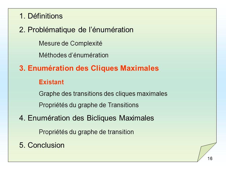 16 1.Définitions 2.Problématique de lénumération Mesure de Complexité Méthodes dénumération 3.Enumération des Cliques Maximales Existant Graphe des tr