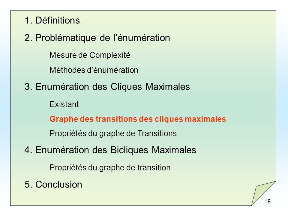 18 1.Définitions 2.Problématique de lénumération Mesure de Complexité Méthodes dénumération 3.Enumération des Cliques Maximales Existant Graphe des tr