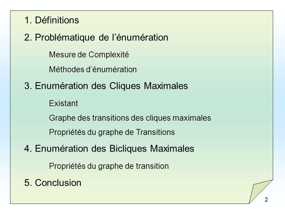 3 1.Définitions 2.Problématique de lénumération Mesure de Complexité Méthodes dénumération 3.Enumération des Cliques Maximales Existant Graphe des transitions des cliques maximales Propriétés du graphe de Transitions 4.Enumération des Bicliques Maximales Propriétés du graphe de transition 5.Conclusion