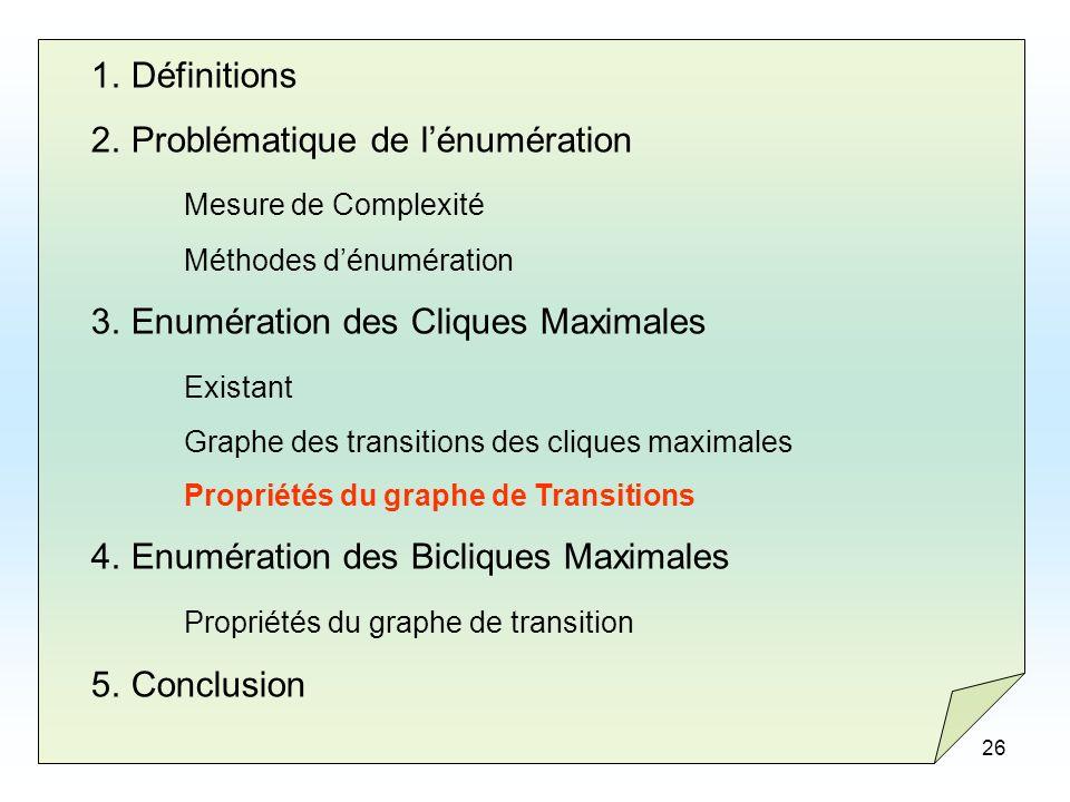 26 1.Définitions 2.Problématique de lénumération Mesure de Complexité Méthodes dénumération 3.Enumération des Cliques Maximales Existant Graphe des tr