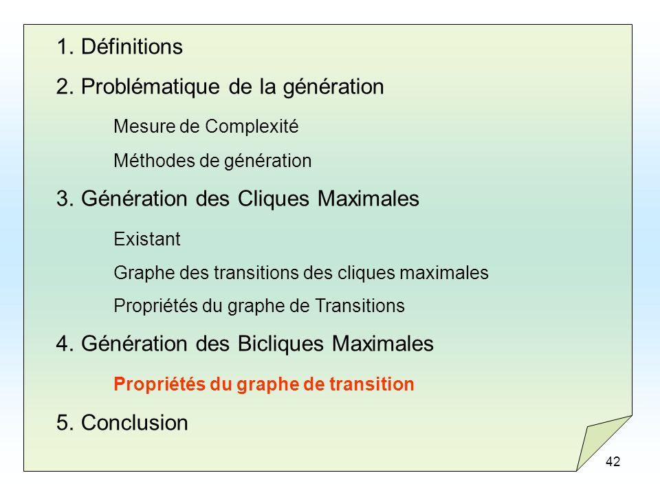 42 1.Définitions 2.Problématique de la génération Mesure de Complexité Méthodes de génération 3.Génération des Cliques Maximales Existant Graphe des t