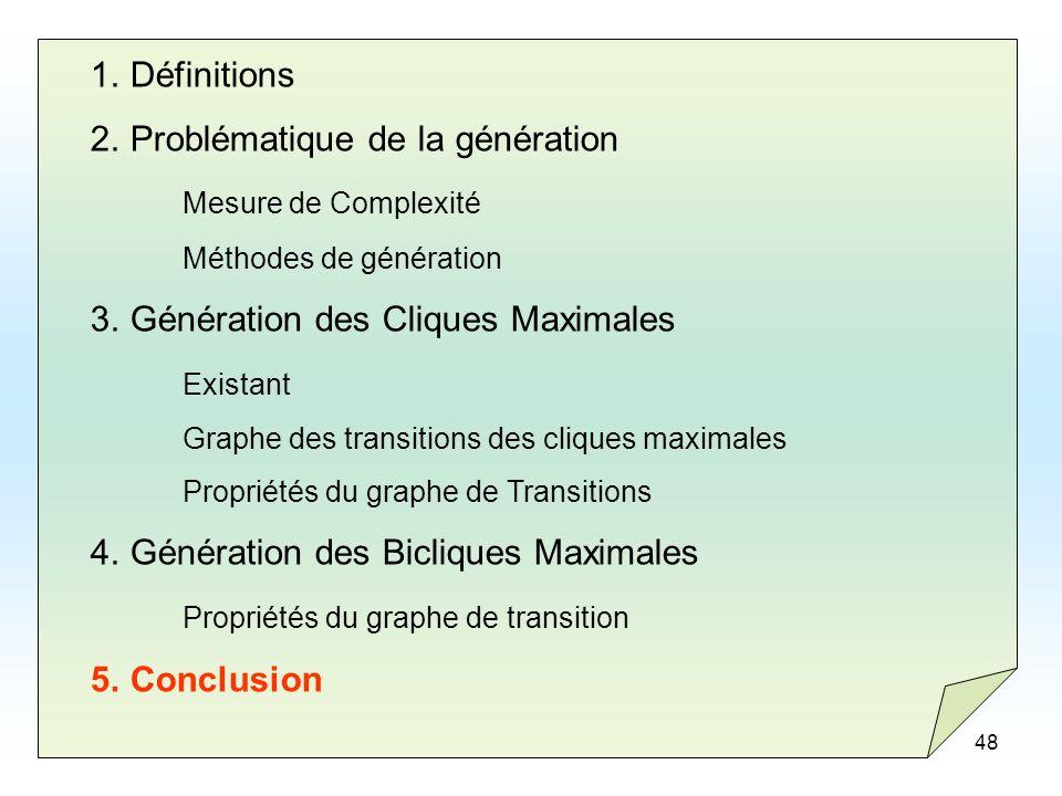 48 1.Définitions 2.Problématique de la génération Mesure de Complexité Méthodes de génération 3.Génération des Cliques Maximales Existant Graphe des t