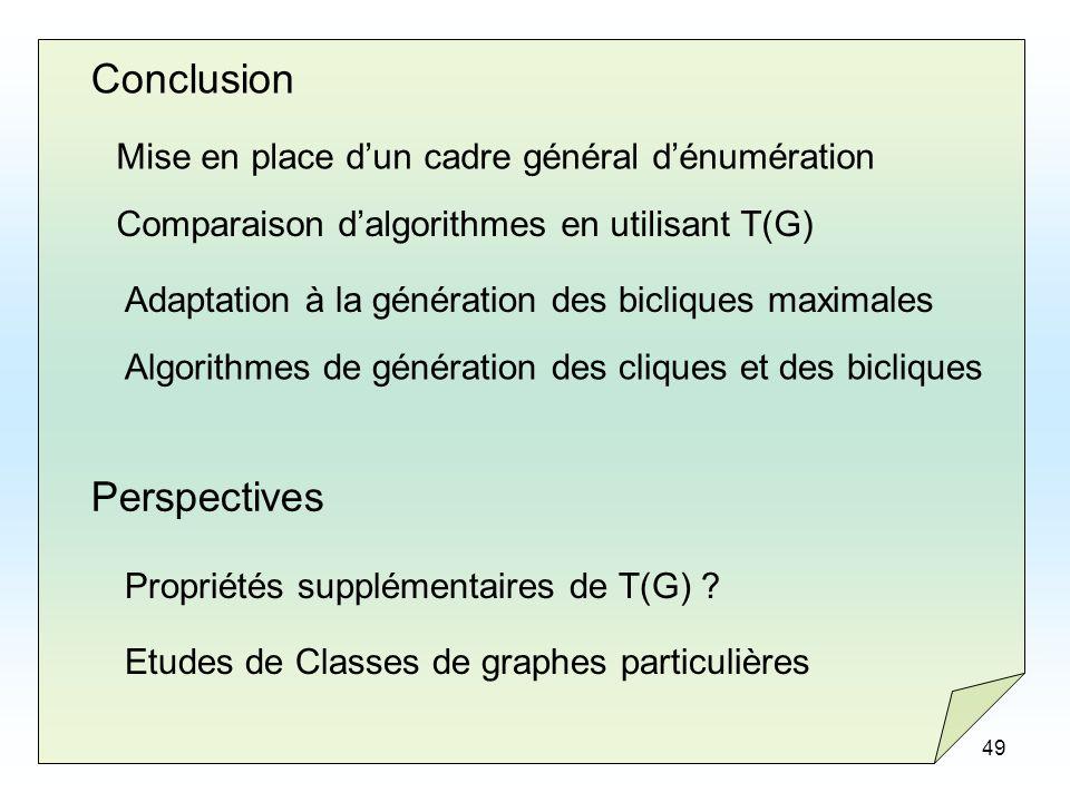 49 Conclusion Mise en place dun cadre général dénumération Comparaison dalgorithmes en utilisant T(G) Adaptation à la génération des bicliques maximal