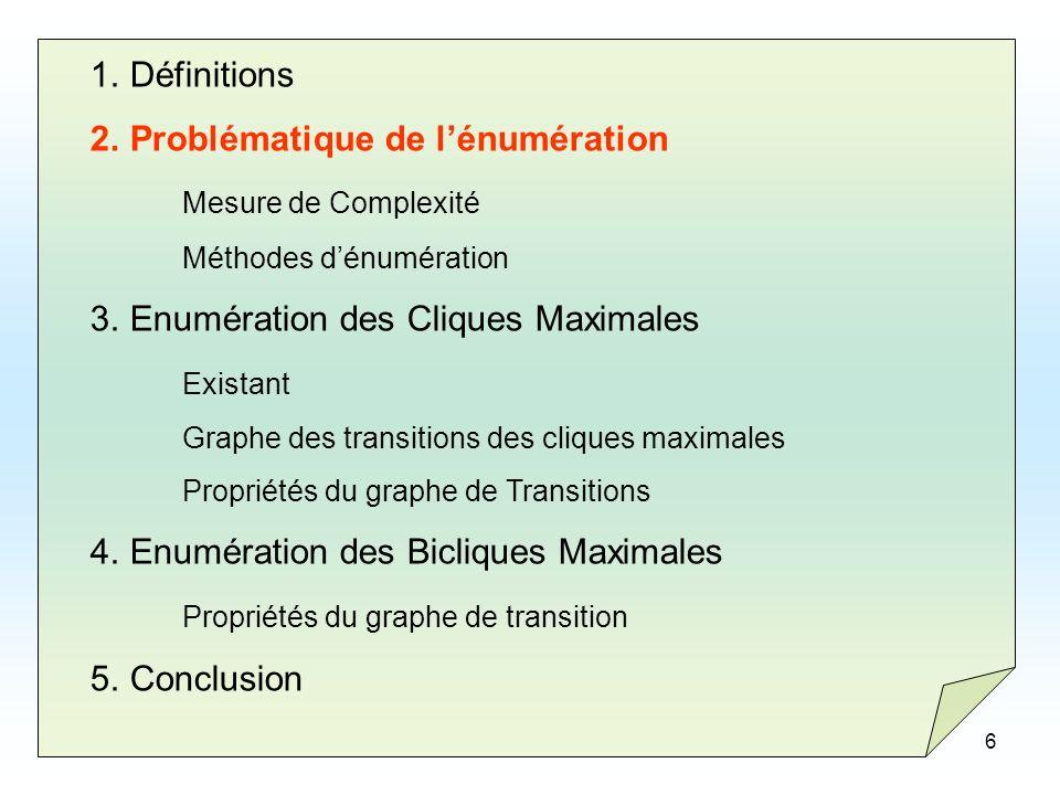 6 1.Définitions 2.Problématique de lénumération Mesure de Complexité Méthodes dénumération 3.Enumération des Cliques Maximales Existant Graphe des tra
