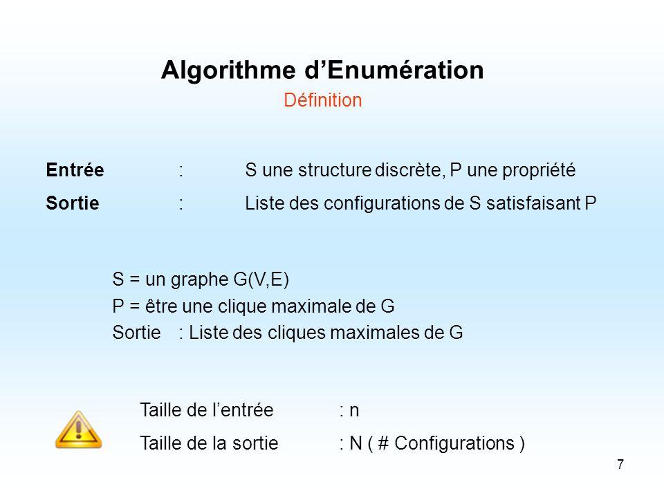 7 Algorithme dEnumération Définition Entrée:S une structure discrète, P une propriété Sortie:Liste des configurations de S satisfaisant P S = un graph