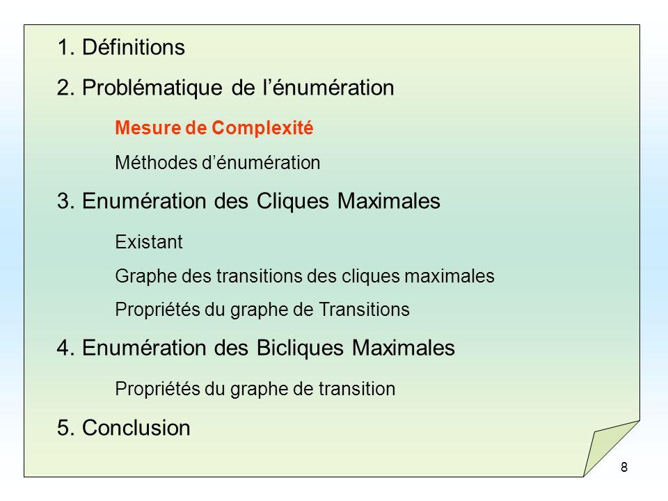 8 1.Définitions 2.Problématique de lénumération Mesure de Complexité Méthodes dénumération 3.Enumération des Cliques Maximales Existant Graphe des tra