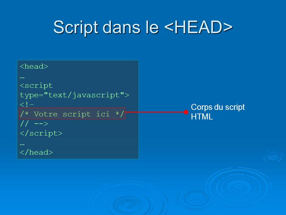 Script dans le Script dans le … <!– /* Votre script ici */ // --> … Corps du script HTML