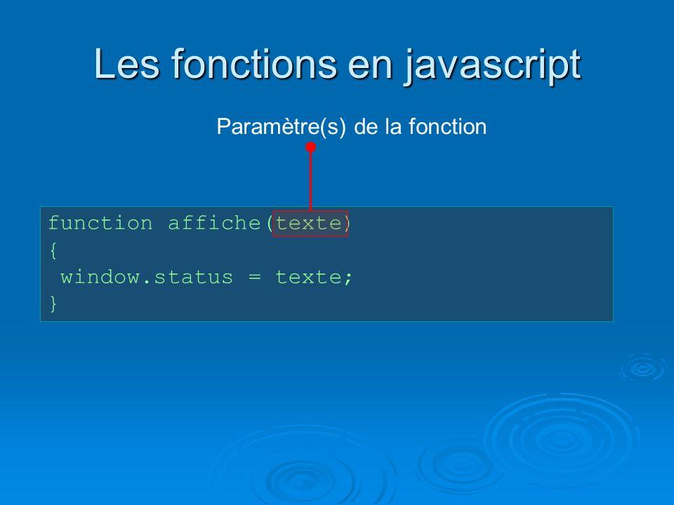 Les fonctions en javascript function affiche(texte) { window.status = texte; } Paramètre(s) de la fonction