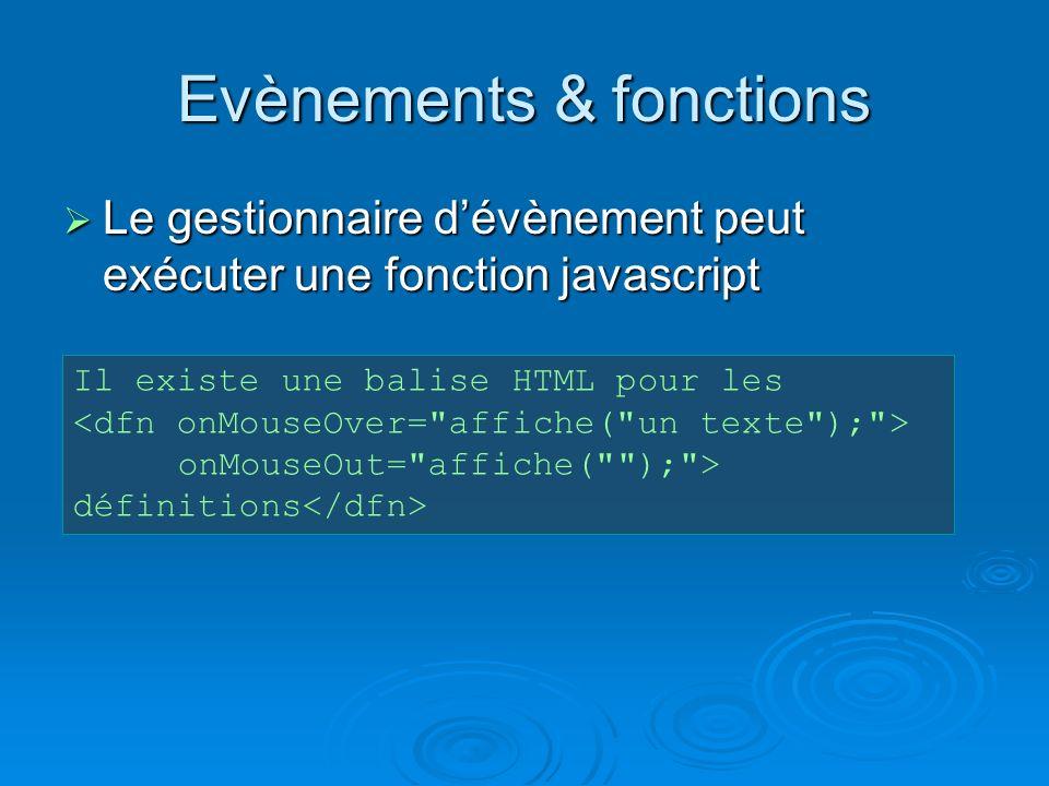 Evènements & fonctions Le gestionnaire dévènement peut exécuter une fonction javascript Le gestionnaire dévènement peut exécuter une fonction javascript Il existe une balise HTML pour les onMouseOut= affiche( ); > définitions