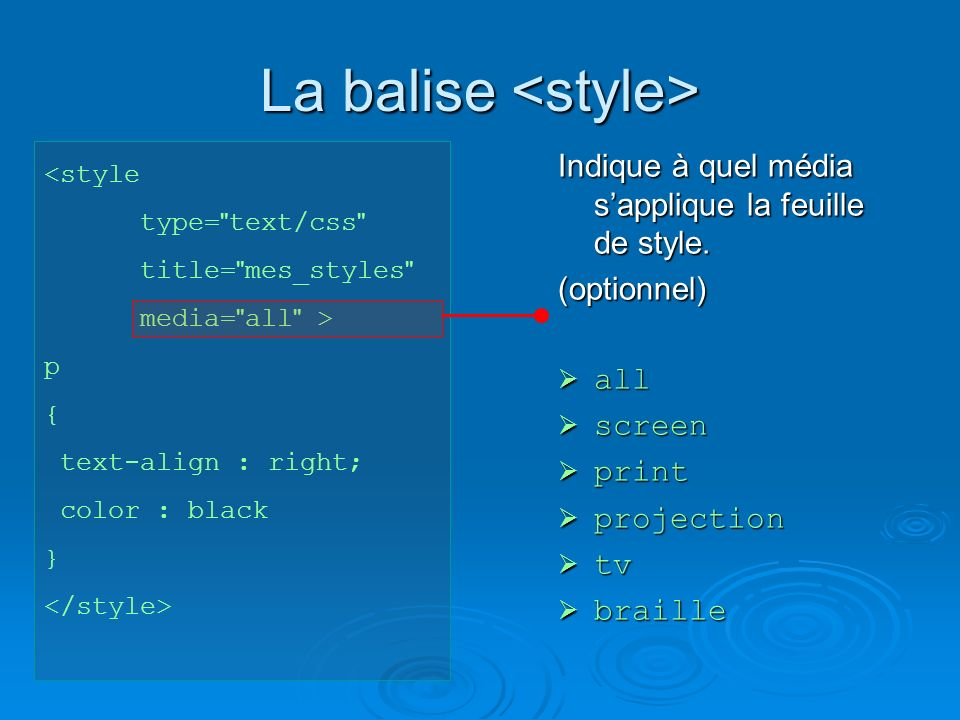 La balise La balise <style type= text/css title= mes_styles media= all > p { text-align : right; color : black } Indique à quel média sapplique la feuille de style.