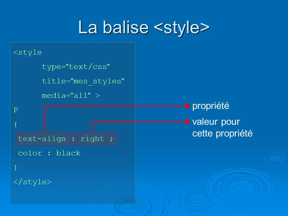 La balise La balise <style type= text/css title= mes_styles media= all > P { text-align : right ; color : black } propriété valeur pour cette propriété