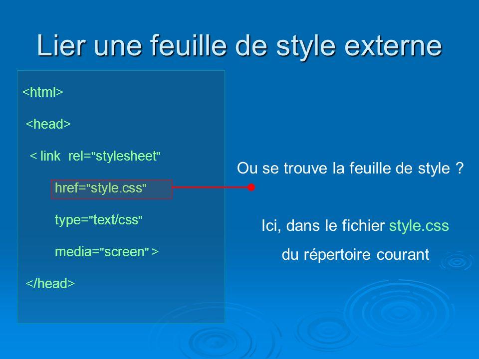 Lier une feuille de style externe < link rel= stylesheet href= style.css type= text/css media= screen > Ou se trouve la feuille de style .
