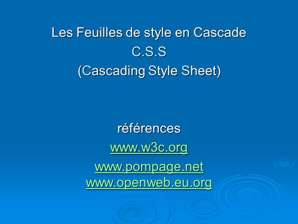 Les Feuilles de style en Cascade C.S.S (Cascading Style Sheet) références www.w3c.org www.pompage.net www.openweb.eu.org www.pompage.net www.openweb.eu.org