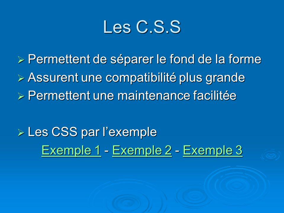 Les C.S.S Permettent de séparer le fond de la forme Permettent de séparer le fond de la forme Assurent une compatibilité plus grande Assurent une compatibilité plus grande Permettent une maintenance facilitée Permettent une maintenance facilitée Les CSS par lexemple Les CSS par lexemple Exemple 1Exemple 1 - Exemple 2 - Exemple 3 Exemple 2Exemple 3 Exemple 1Exemple 2Exemple 3