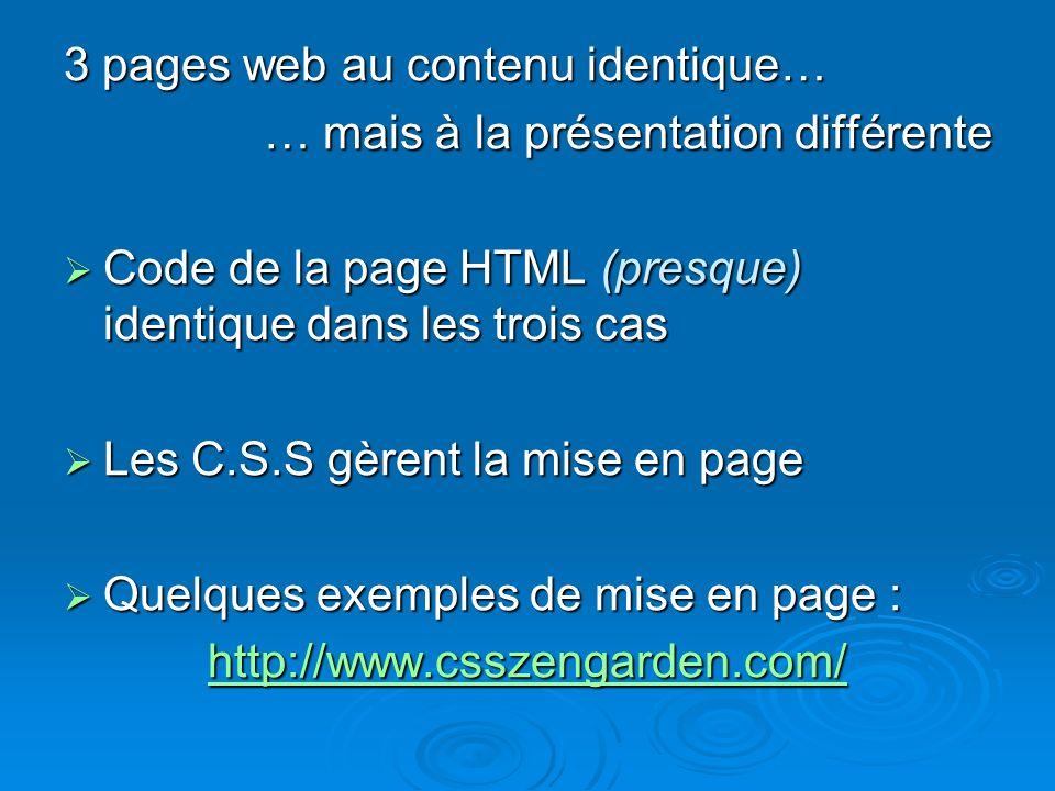 3 pages web au contenu identique… … mais à la présentation différente Code de la page HTML (presque) identique dans les trois cas Code de la page HTML (presque) identique dans les trois cas Les C.S.S gèrent la mise en page Les C.S.S gèrent la mise en page Quelques exemples de mise en page : Quelques exemples de mise en page : http://www.csszengarden.com/