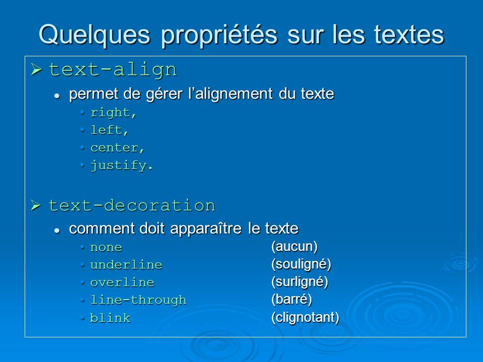 Quelques propriétés sur les textes text-align text-align permet de gérer lalignement du texte permet de gérer lalignement du texte right,right, left,left, center,center, justify.justify.