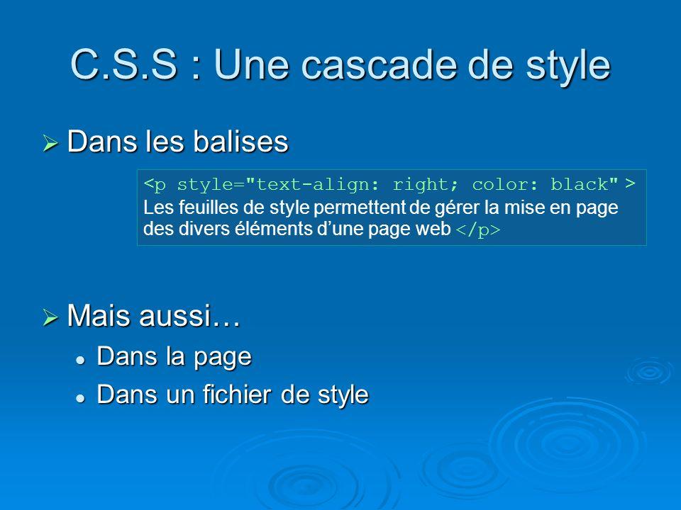 C.S.S : Une cascade de style Dans les balises Dans les balises Mais aussi… Mais aussi… Dans la page Dans la page Dans un fichier de style Dans un fichier de style Les feuilles de style permettent de gérer la mise en page des divers éléments dune page web