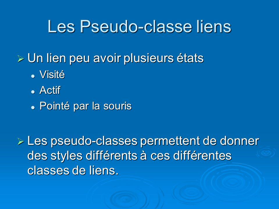 Un lien peu avoir plusieurs états Un lien peu avoir plusieurs états Visité Visité Actif Actif Pointé par la souris Pointé par la souris Les pseudo-classes permettent de donner des styles différents à ces différentes classes de liens.