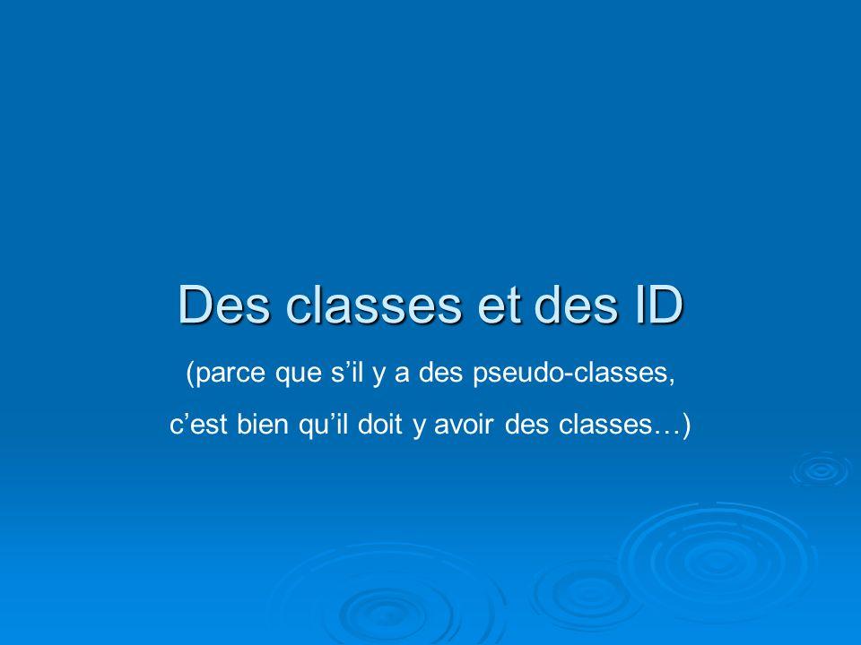 Des classes et des ID (parce que sil y a des pseudo-classes, cest bien quil doit y avoir des classes…)