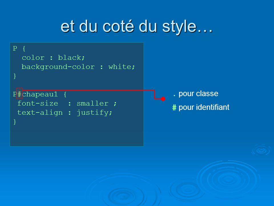 et du coté du style… P { color : black; background-color : white; } P#chapeau1 { font-size : smaller ; text-align : justify; }.