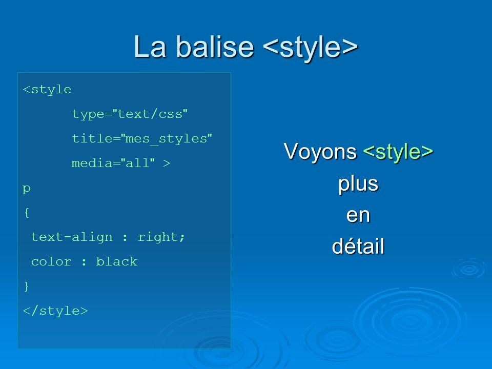 Lier une feuille de style externe < link rel= stylesheet href= style.css type= text/css media= screen > Pour quel média la feuille de style est-elle valable .