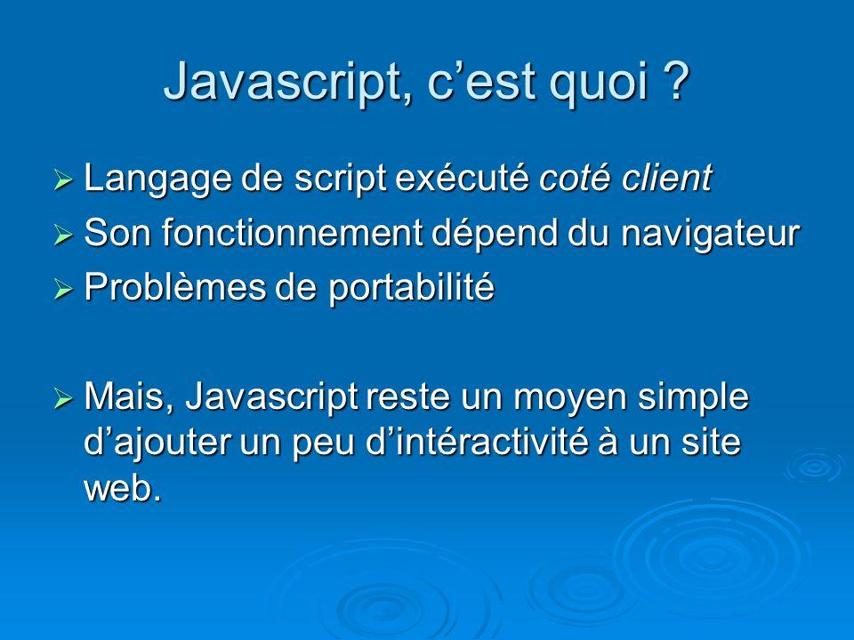 Javascript, cest quoi .