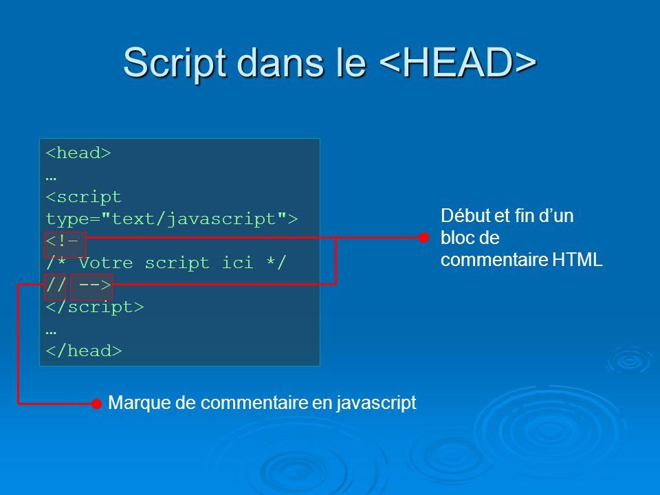 Script dans le Script dans le … <!– /* Votre script ici */ // --> … Début et fin dun bloc de commentaire HTML Marque de commentaire en javascript