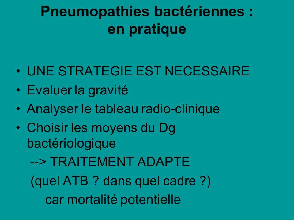 Pneumopathies bactériennes : en pratique UNE STRATEGIE EST NECESSAIRE Evaluer la gravité Analyser le tableau radio-clinique Choisir les moyens du Dg b