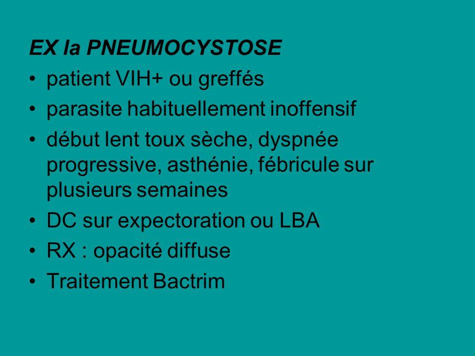 EX la PNEUMOCYSTOSE patient VIH+ ou greffés parasite habituellement inoffensif début lent toux sèche, dyspnée progressive, asthénie, fébricule sur plu