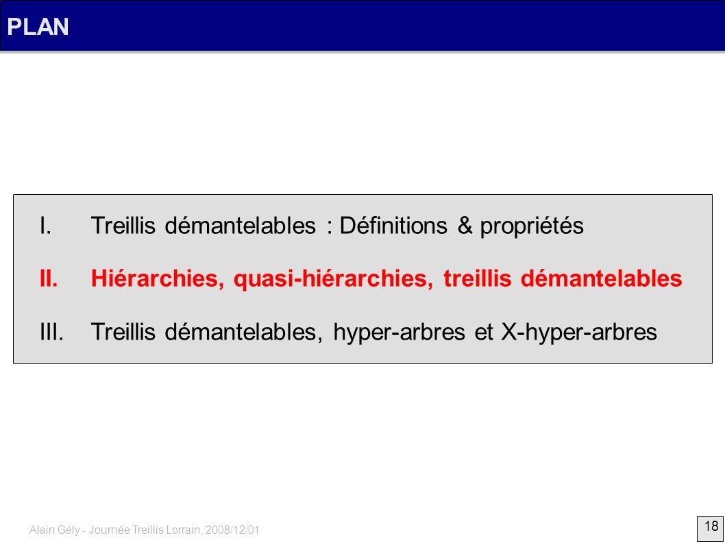 18 Alain Gély - Journée Treillis Lorrain, 2008/12/01 PLAN I. Treillis démantelables : Définitions & propriétés II. Hiérarchies, quasi-hiérarchies, tre