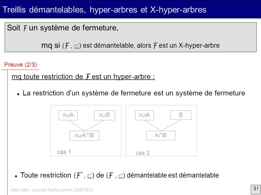 31 Alain Gély - Journée Treillis Lorrain, 2008/12/01 Treillis démantelables, hyper-arbres et X-hyper-arbres Soit F un système de fermeture, mq si ( F,