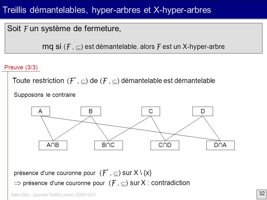 32 Alain Gély - Journée Treillis Lorrain, 2008/12/01 Treillis démantelables, hyper-arbres et X-hyper-arbres Soit F un système de fermeture, mq si ( F,