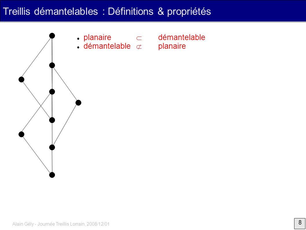 19 Alain Gély - Journée Treillis Lorrain, 2008/12/01 Hiérarchies, quasi-hiérarchies, treillis démantelables 1234 56 245 12345 13 {x} F X F 6 F une famille d ensembles sur X tq A B = Ø A B B A pour A, B F, soit Hiérarchie