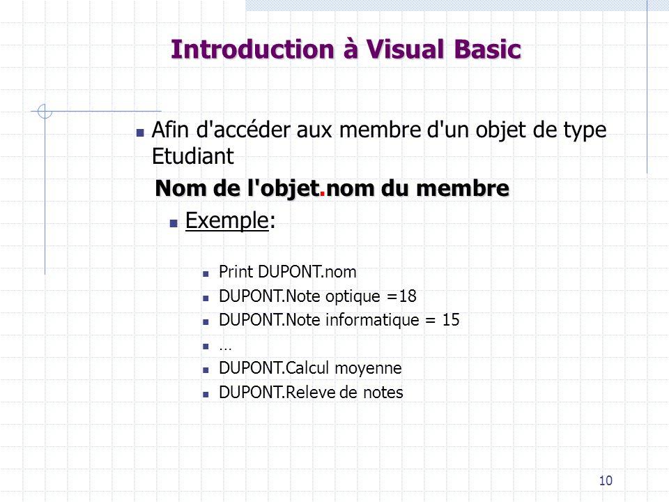10 Introduction à Visual Basic Afin d accéder aux membre d un objet de type Etudiant Nom de l objetnom du membre Nom de l objet.nom du membre Exemple: Print DUPONT.nom DUPONT.Note optique =18 DUPONT.Note informatique = 15 … DUPONT.Calcul moyenne DUPONT.Releve de notes