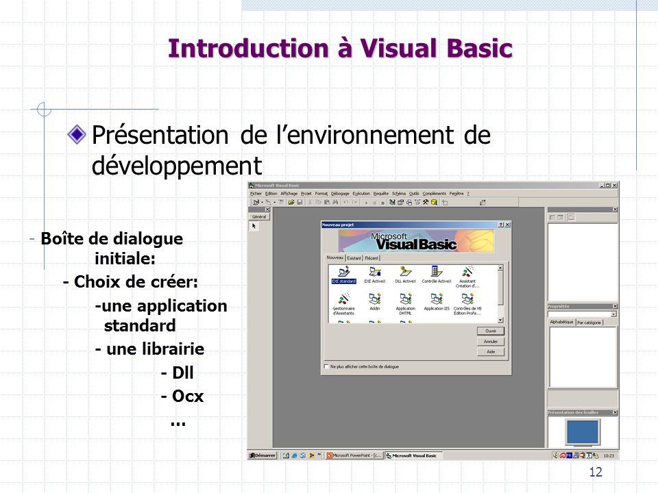 12 Introduction à Visual Basic Présentation de lenvironnement de développement - Boîte de dialogue initiale: - Choix de créer: -une application standard - une librairie - Dll - Ocx …
