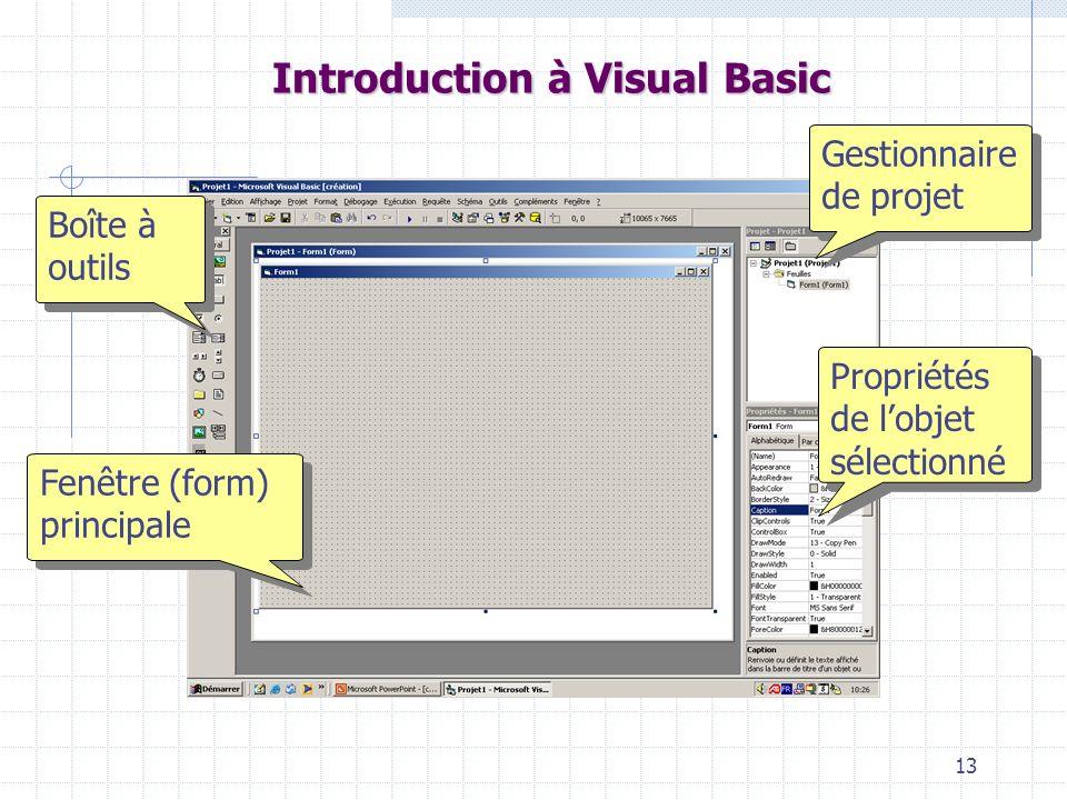 13 Introduction à Visual Basic Fenêtre (form) principale Boîte à outils Gestionnaire de projet Propriétés de lobjet sélectionné