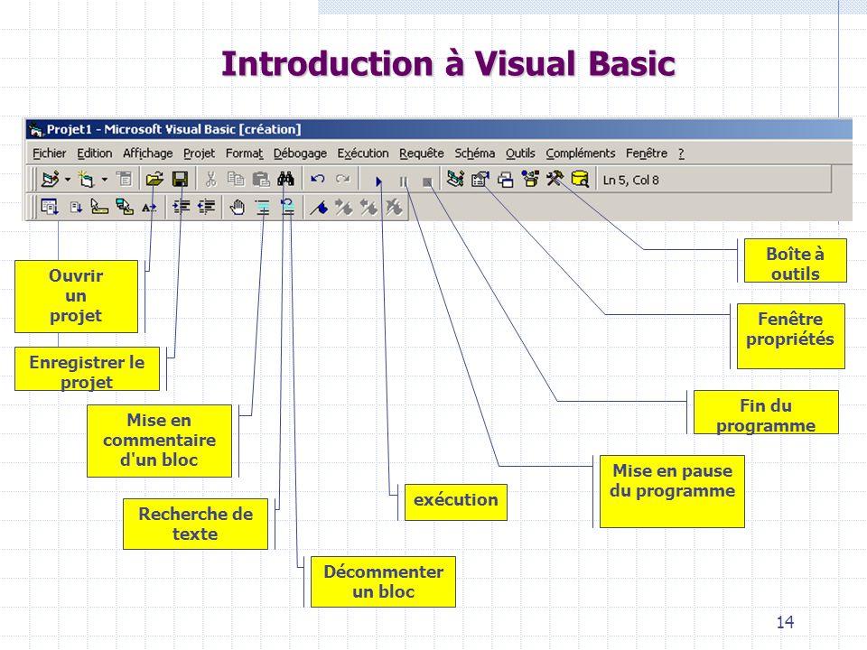 14 Introduction à Visual Basic exécution Fenêtre propriétés Boîte à outils Décommenter un bloc Mise en commentaire d'un bloc Enregistrer le projet Rec