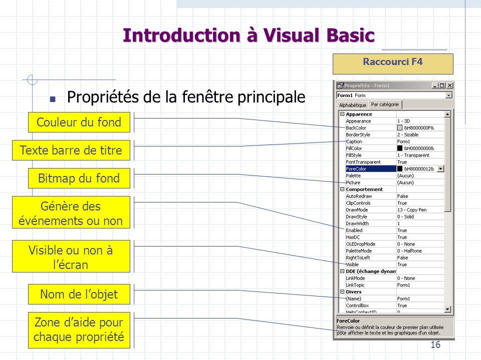 16 Introduction à Visual Basic Propriétés de la fenêtre principale Couleur du fond Texte barre de titre Bitmap du fond Génère des événements ou non Vi