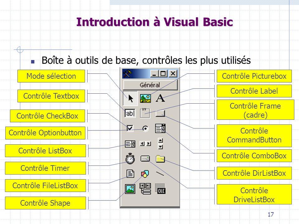 17 Introduction à Visual Basic Boîte à outils de base, contrôles les plus utilisés Mode sélectionContrôle Picturebox Contrôle Label Contrôle Textbox C