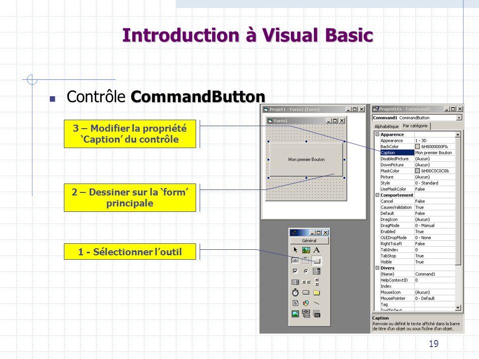 19 Introduction à Visual Basic CommandButton Contrôle CommandButton 1 - Sélectionner loutil 2 – Dessiner sur la form principale 3 – Modifier la propri