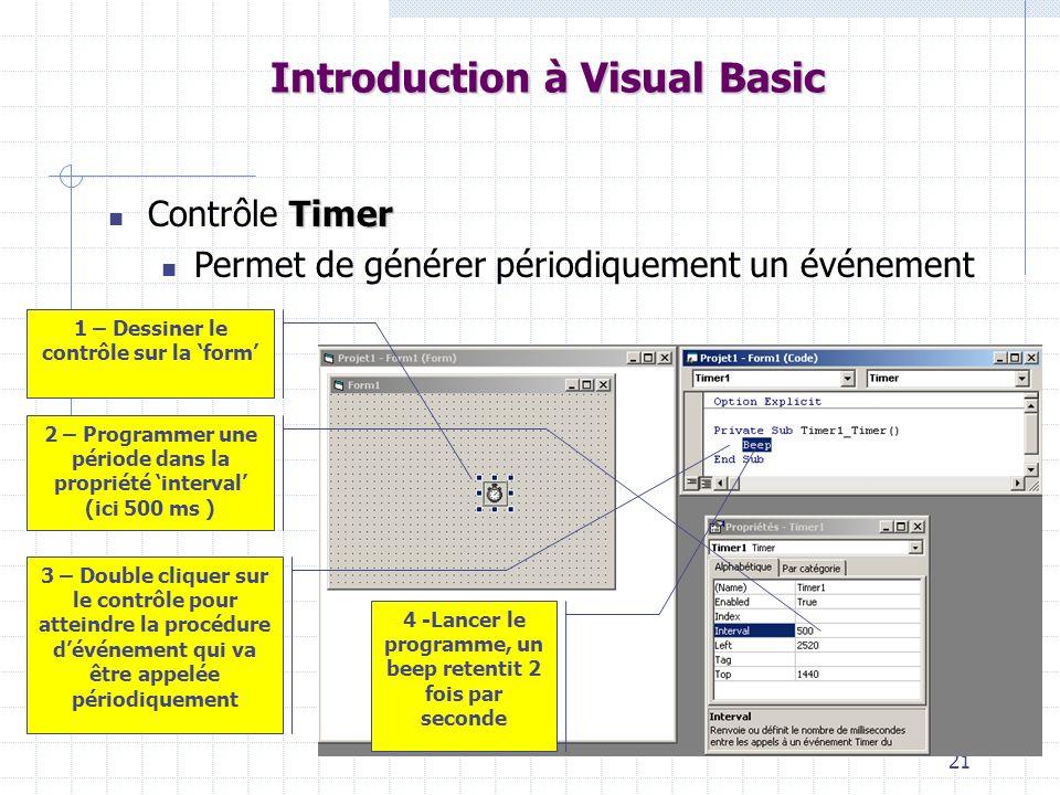 21 Introduction à Visual Basic Timer Contrôle Timer Permet de générer périodiquement un événement 1 – Dessiner le contrôle sur la form 2 – Programmer une période dans la propriété interval (ici 500 ms ) 3 – Double cliquer sur le contrôle pour atteindre la procédure dévénement qui va être appelée périodiquement 4 -Lancer le programme, un beep retentit 2 fois par seconde